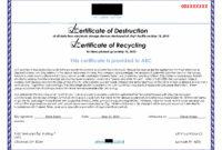 Hard Drive Destruction Certificate Template ] – Certificate in Certificate Of Destruction Template