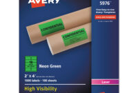 High-Visibility Permanent Laser Id Labels, 2 X 4, Neon Green, 1000/box for 2 X 4 Label Template 10 Per Sheet