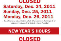 Holiday Closing Signs Templates – Tunu.redmini.co pertaining to Business Closed Sign Template