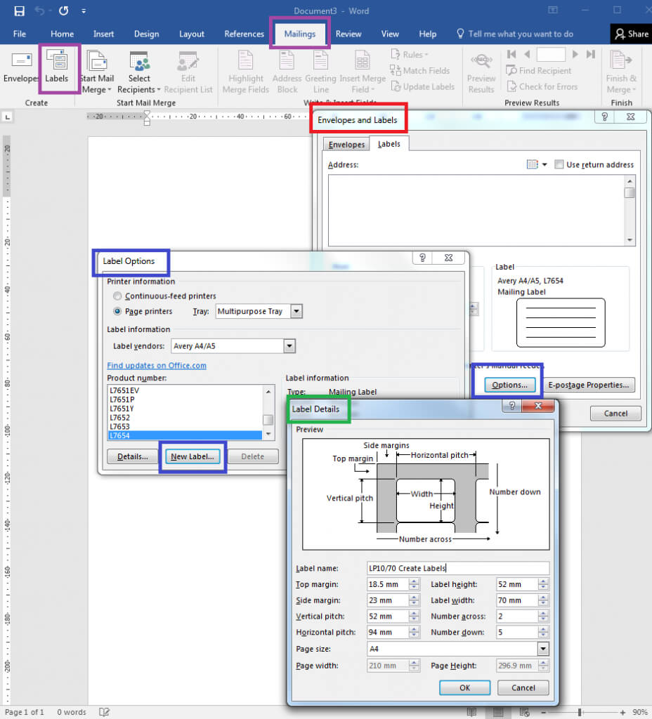 How To – How To Create Your Own Label Templates In Word Within 4 Per Page Label Template