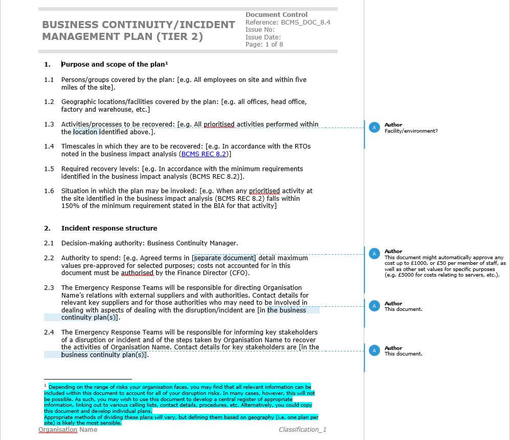 How To Write An Iso 22301 Compliant Business Continuity Plan With Regard To Business Continuity Plan Risk Assessment Template