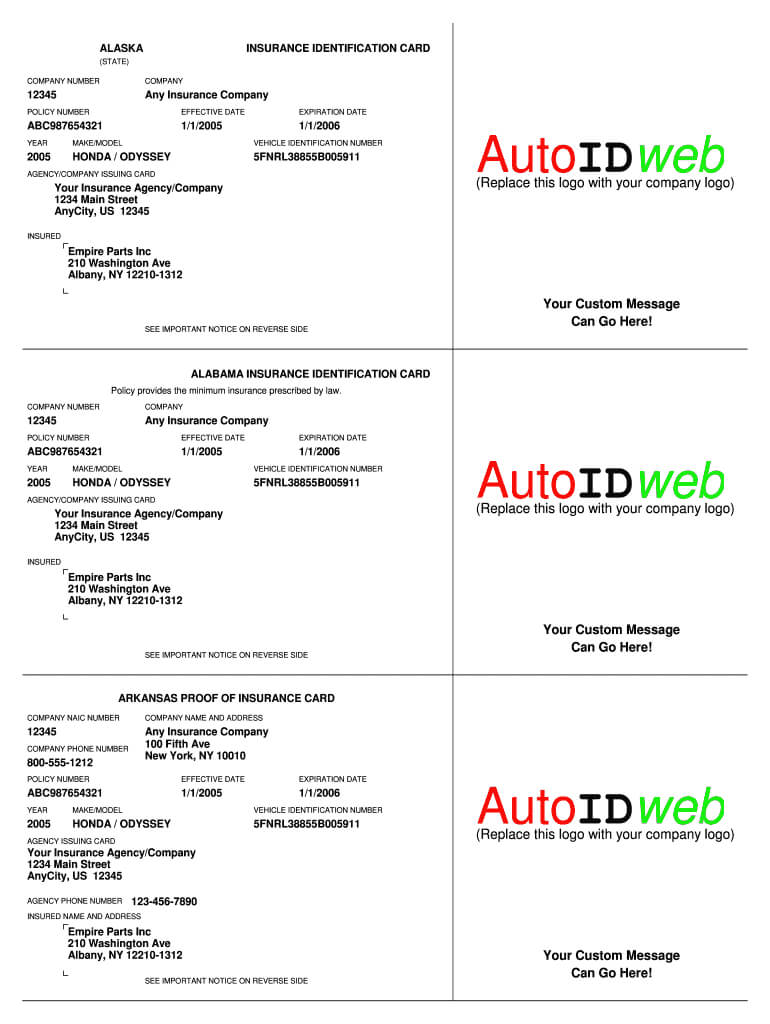 Insurance Card Template - Fill Online, Printable, Fillable With Auto Insurance Card Template Free Download