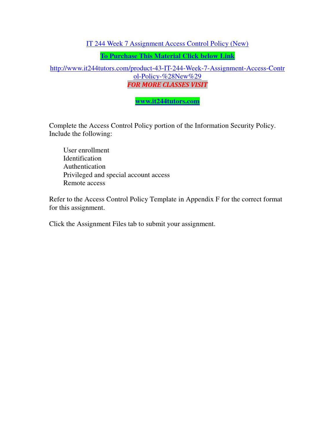 It 244 Week 7 Assignment Access Control Policy (New) Pertaining To Access Control Policy Template