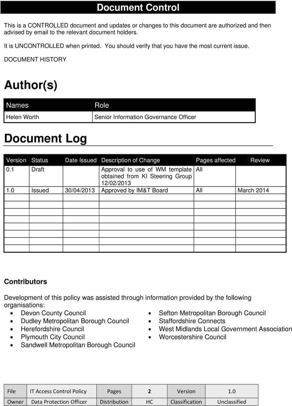 It Access Control Policy – Pdf Free Download Throughout Access Control Policy Template