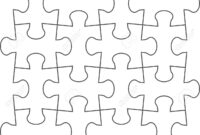 Jigsaw Puzzle Blank Template Of A Simple 4X4. White With A Black.. within Blank Jigsaw Piece Template