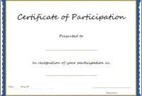 Key Components To Include On Certificate Of Participation in Certificate Of Participation Template Doc