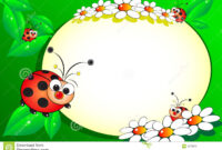 Kid Scrapbook With Blank Frame Message Stock Vector for Blank Ladybug Template