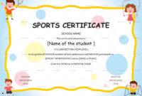 Kids Sports Participation Certificate Template throughout Athletic Certificate Template