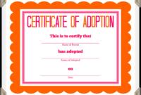 Kitten Adoption Certificate inside Blank Adoption Certificate Template