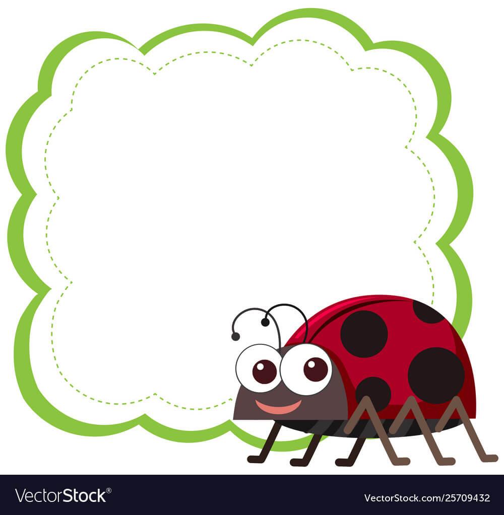 Ladybug On Note Template For Blank Ladybug Template