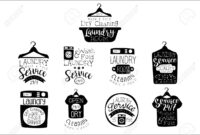 Laundry Room Black And White Label Set Of Traditional Style Flat.. in Black And White Label Templates