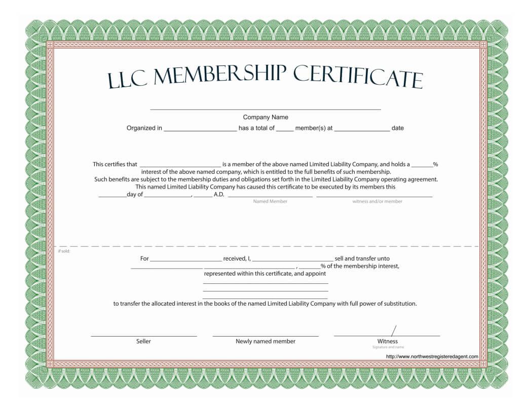 Llc Membership Certificate - Free Template Within Certificate Of Ownership Template
