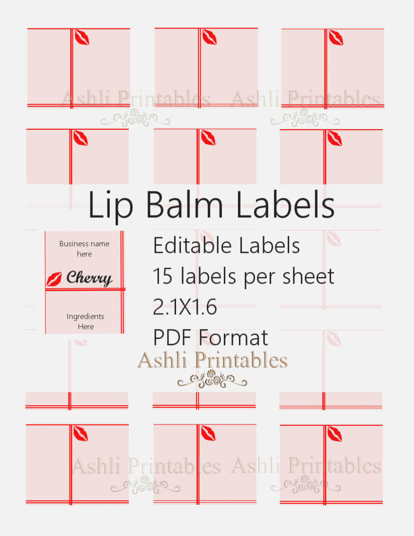 Lucrative Printable Lip Balm Label Template | Marsha Website Throughout 2.125 X 1.6875 Label Template