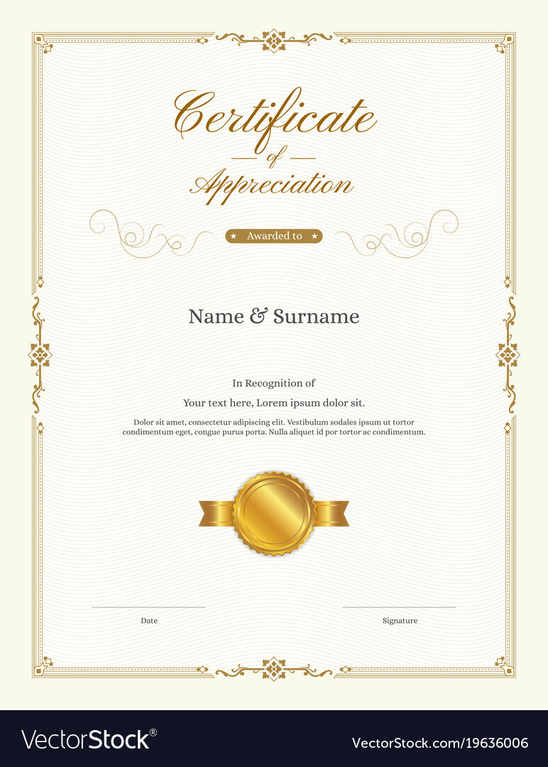 Luxury Certificate Template With Elegant Border Intended For Anniversary Certificate Template Free