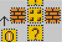 Mario Coin Block Perler Layout Perler Bead Pattern | Bead for Blank Perler Bead Template