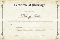 Marriage Certificate Template Keepsake Wedding Sample South pertaining to Blank Marriage Certificate Template