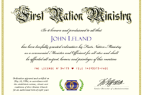 Marriage Officiant And Wedding Ceremony Minister Ordination for Certificate Of Ordination Template
