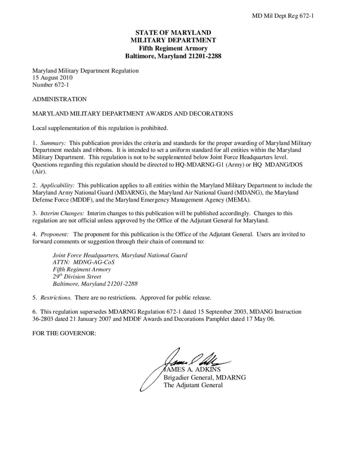 Maryland Military Department Regulation 672 1 (Awards And Regarding Army Good Conduct Medal Certificate Template