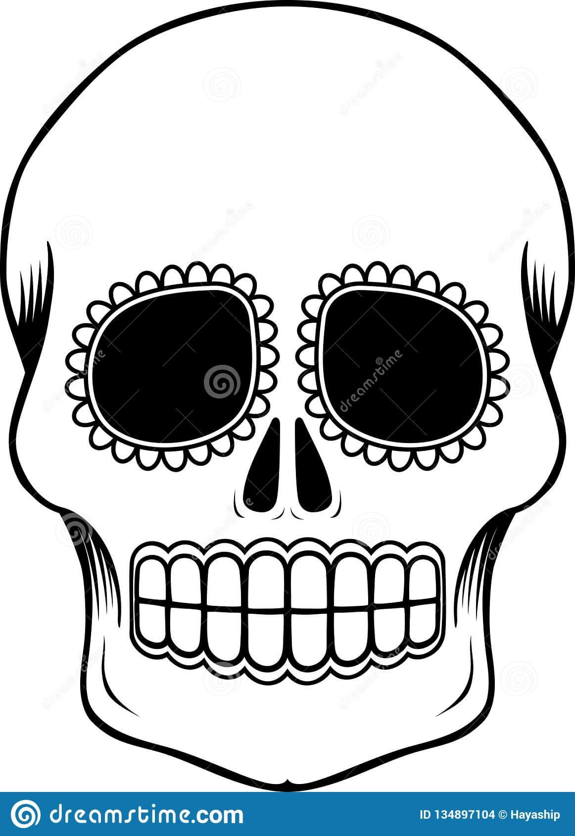 Mexican Sugar Skull Template Stock Vector - Illustration Of Regarding Blank Sugar Skull Template