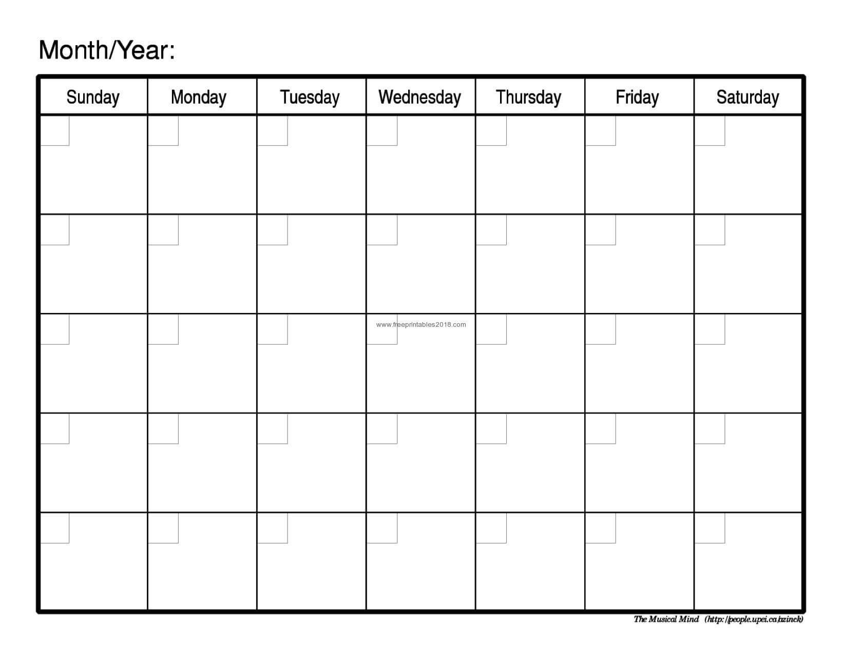 Month Templates - Tunu.redmini.co Regarding Blank One Month Calendar Template