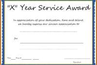 Multi-Year Service Award Certificate Template with regard to Certificate Of Service Template Free