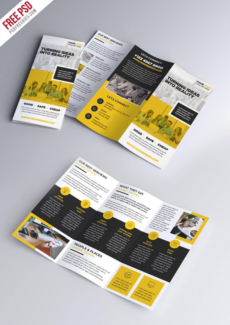 Multipurpose Tri Fold Brochure Psd Template | Psdfreebies For 3 Fold Brochure Template Psd