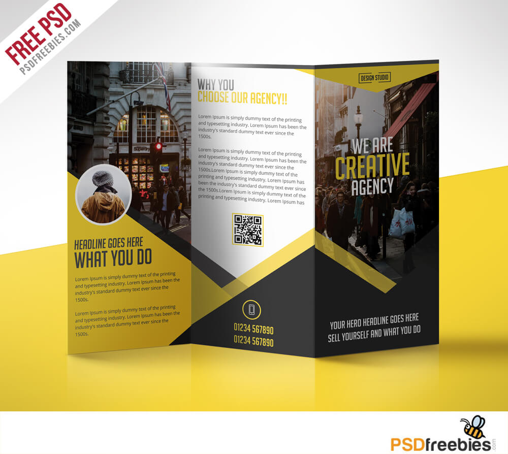 Multipurpose Trifold Business Brochure Free Psd Template Regarding Brochure Psd Template 3 Fold