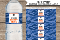 Nerf Party Water Bottle Labels Template – Blue Camo with Birthday Water Bottle Labels Template Free