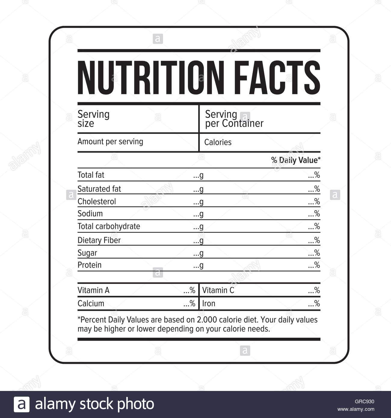 Nutrition Facts Label Template Vector Stock Vector Art Intended For Blank Food Label Template