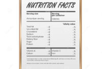 Nutrition Facts Vector. Blank, Template. Food Content. Fat in Blank Food Label Template