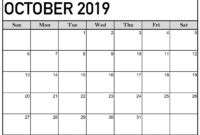 October 2019 Calendar Printable Word Template – Latest intended for Blank Calander Template