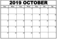 October 2019 Calendar Template For Kids | Free Printable with Blank Calendar Template For Kids