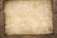 Old Blank Parchment Treasure Map On Wooden Table Stock Photo with Blank Pirate Map Template