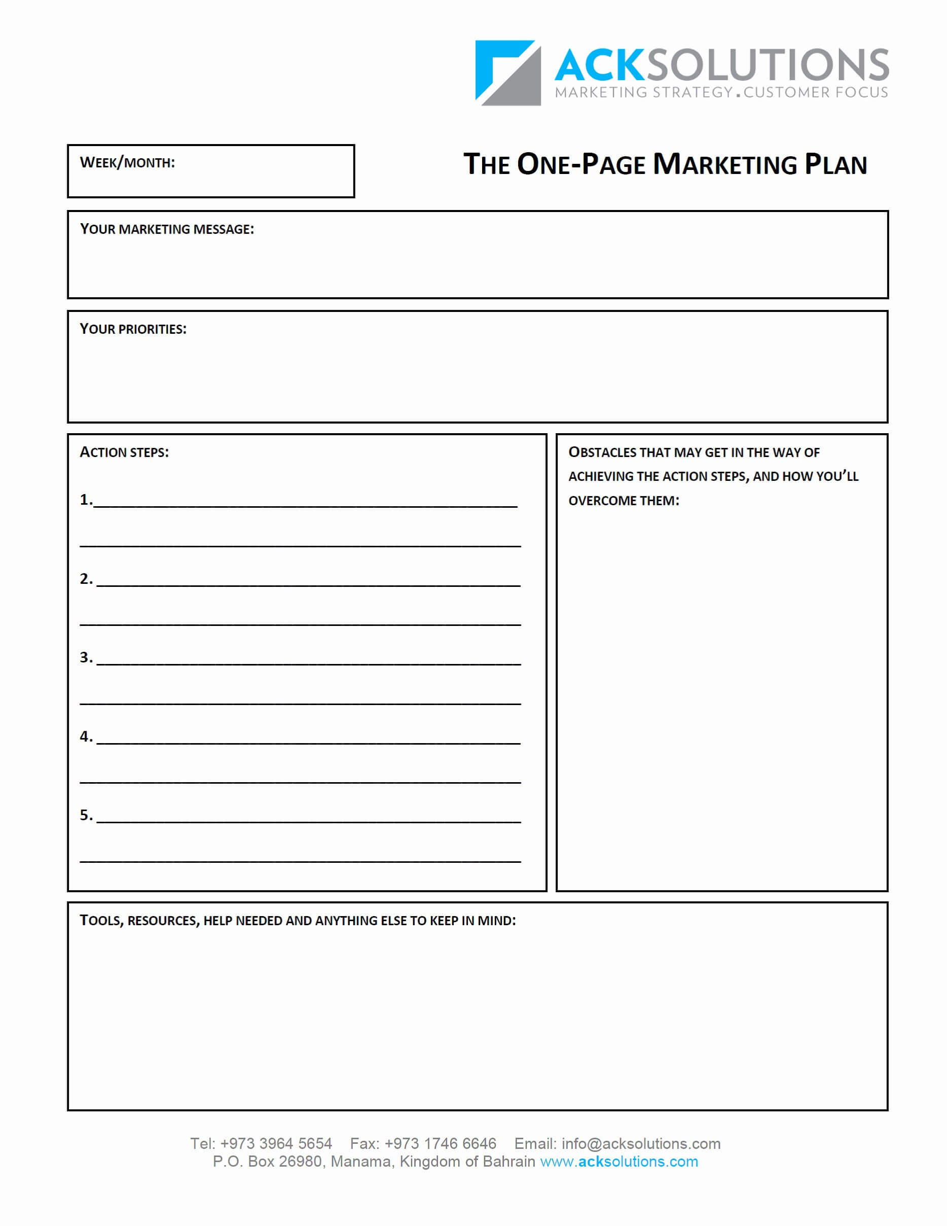 One Page Business Plan Template Free Plans Download Kleo With 1 Page Business Plan Templates Free