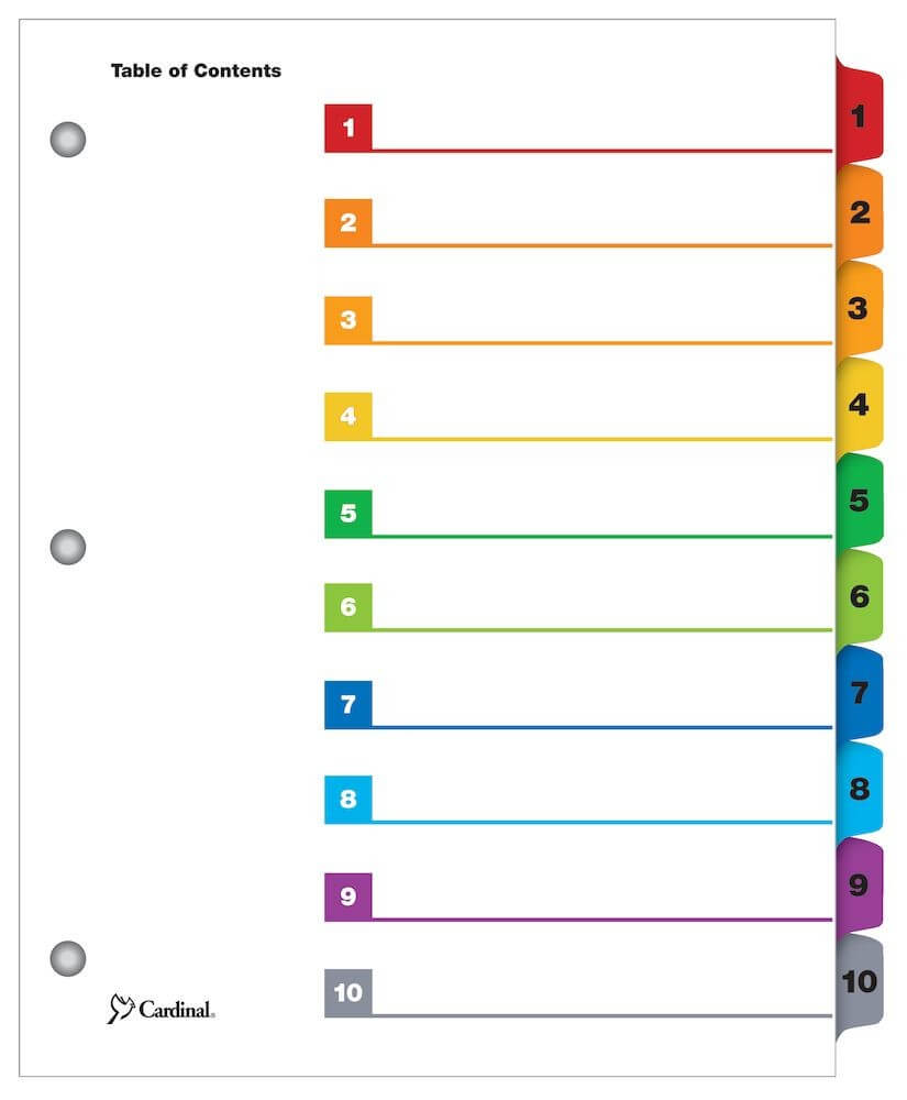 Onestep® Printable Table Of Contents Dividers, 10 Tab, Multicolor Regarding 8 Tab Divider Template
