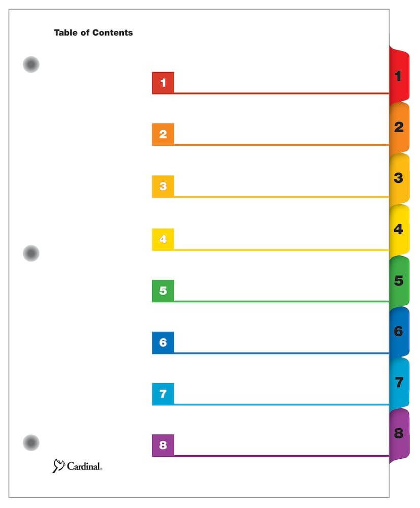 Onestep® Printable Table Of Contents Dividers, 8 Tab, Multicolor, 6/pk Throughout 8 Tab Divider Template