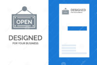 Open, Shop, Board Grey Logo Design And Business Card within Business Card Template Open Office