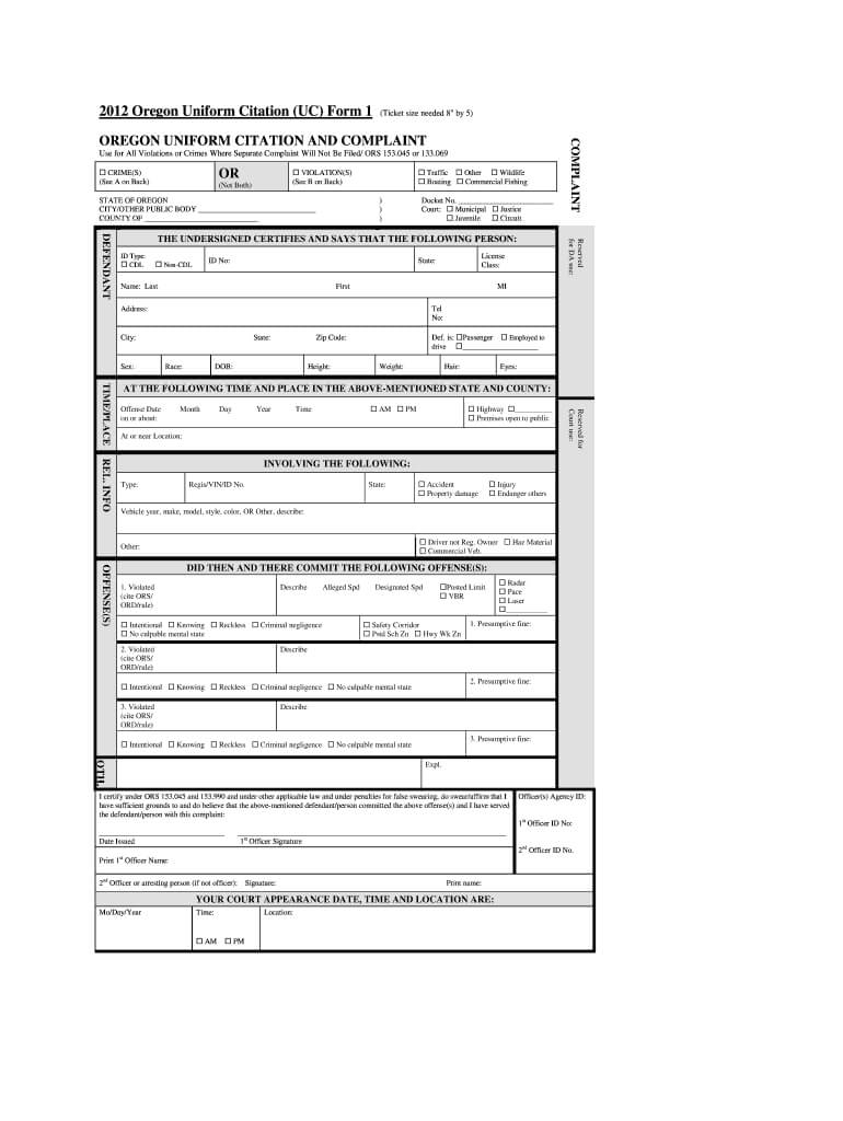 Oregon Uniform Citation - Fill Online, Printable, Fillable With Regard To Blank Speeding Ticket Template