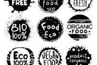 Organic Bio Food Black And White Label Set pertaining to Black And White Label Templates