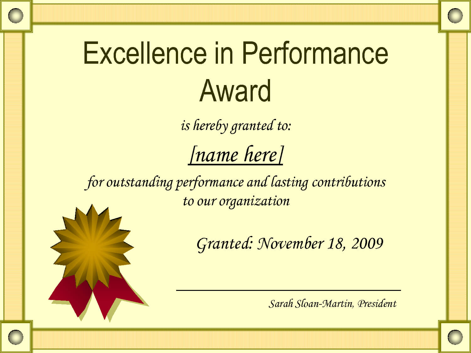 Outstanding Excellence In Performance Awards Certificate For Best Performance Certificate Template