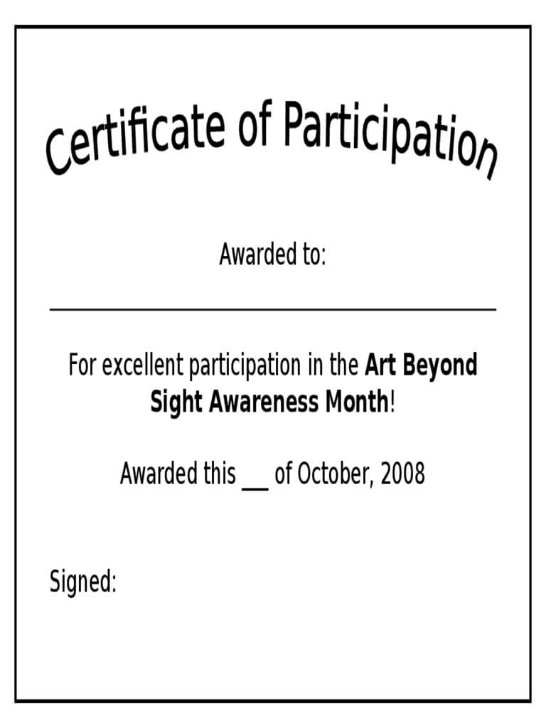 Participation Certificate – 6 Free Templates In Pdf, Word Within Certificate Of Participation Template Pdf