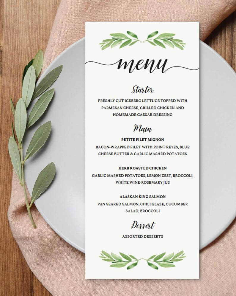 Party Menu Template For Bridal Shower Menu Cards For Wedding Greenery Baby  Shower Decorations Menu Template Instant Download Green Leaf Gl1 In Bridal Shower Menu Template