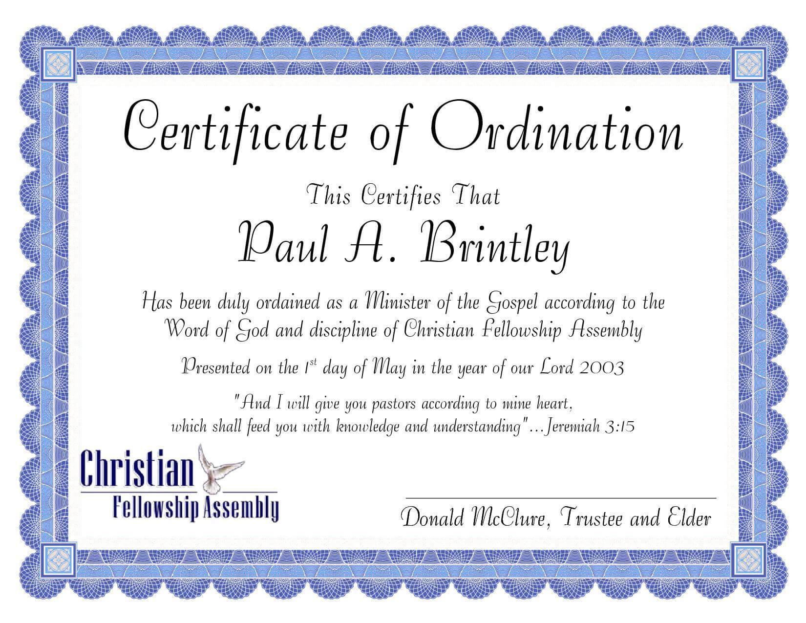 Pastoral Ordination Certificatepatricia Clay - Issuu Inside Certificate Of Ordination Template