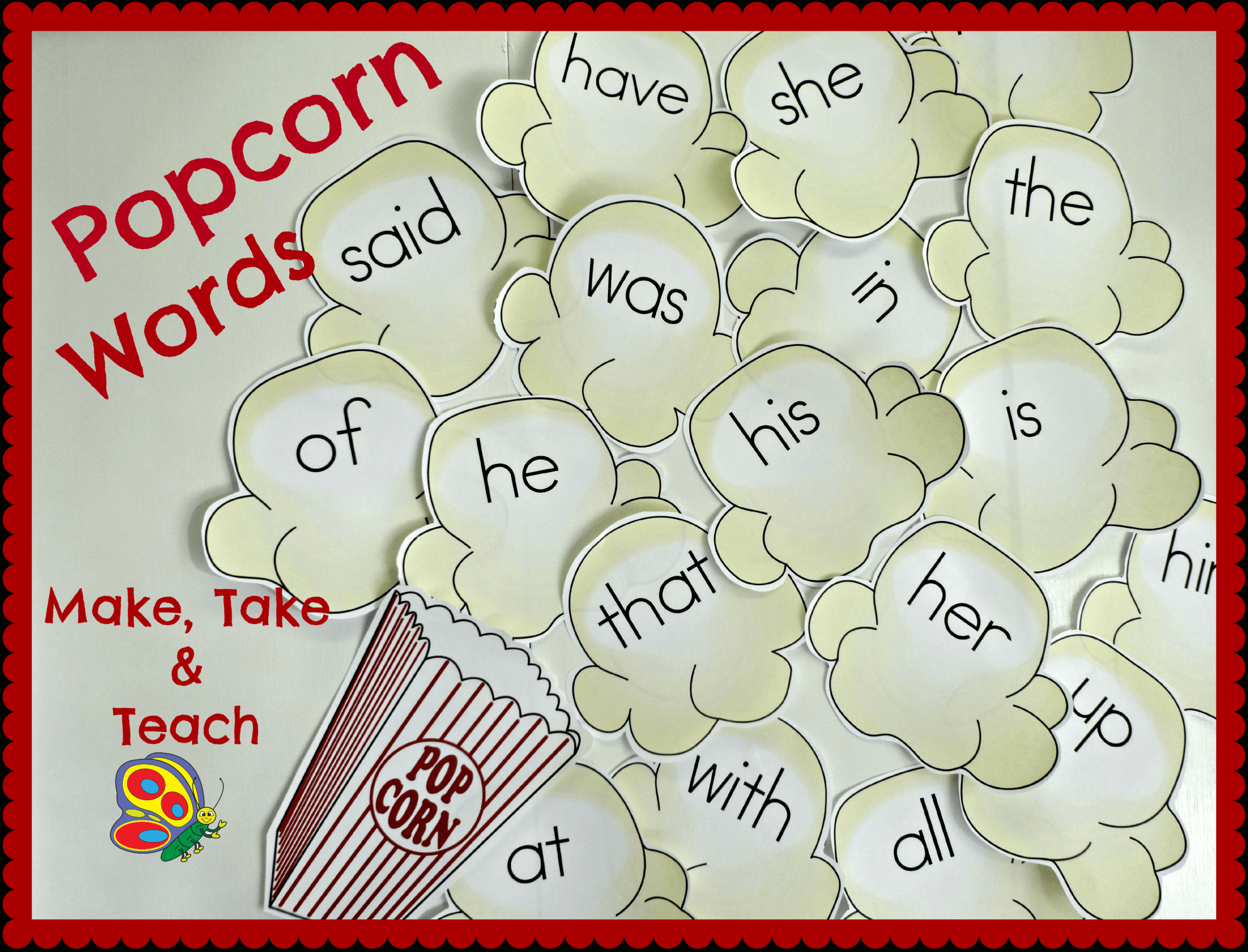 Popcorn Words – Make Take & Teach Intended For Bulletin Board Template Word
