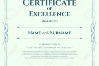Portrait Certificate Of Excellence Template With Award Ribbon.. intended for Award Of Excellence Certificate Template