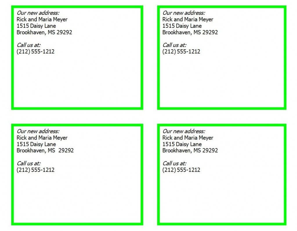Postcard Template For Word 4 Per Page Pertaining To 4 Per Page Label Template