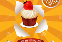 Poster Design With Sweet Bakery Decorated Cupcakes Stock pertaining to Cake Flyer Template Free