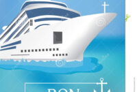 Poster Template Cruise Ship With «Bon Voyage» Headline with regard to Bon Voyage Card Template