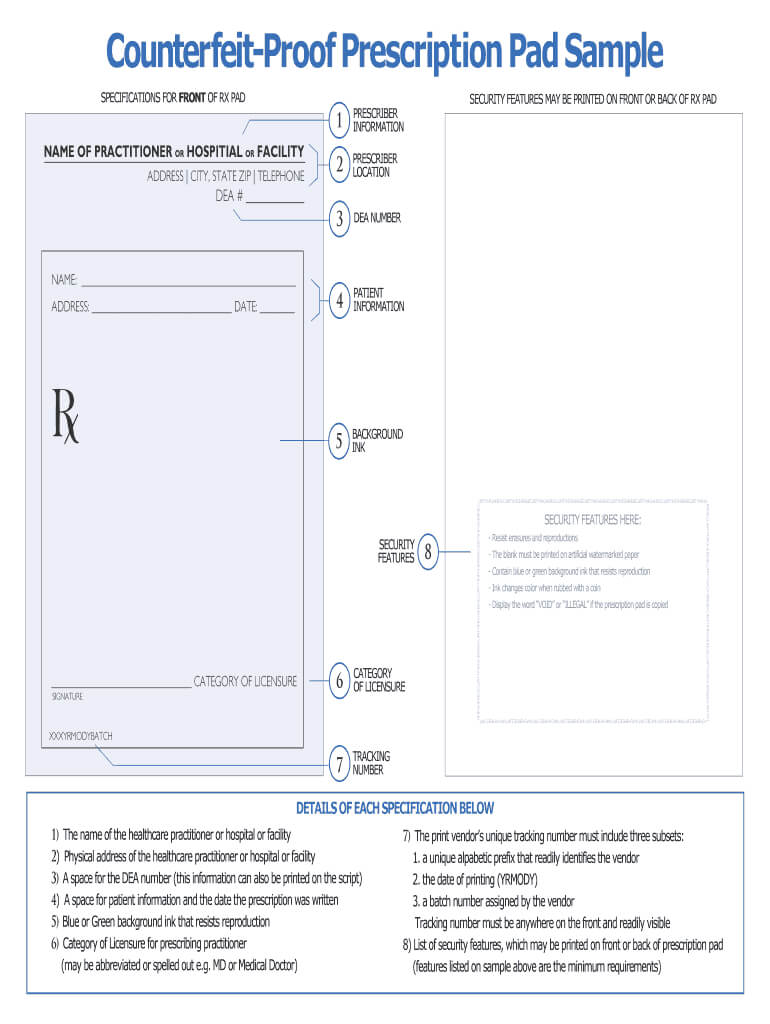 Prescription Pad Template - Fill Online, Printable, Fillable Regarding Blank Prescription Form Template