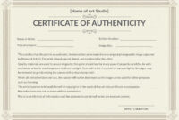 Printable Authenticity Certificate Template within Certificate Of Authenticity Template